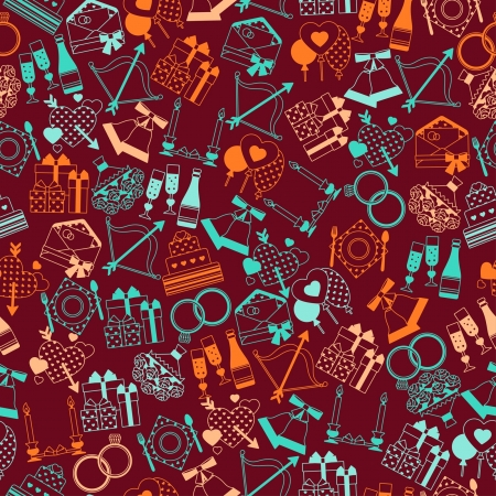 Seamless wedding pattern in retro style  Vector
