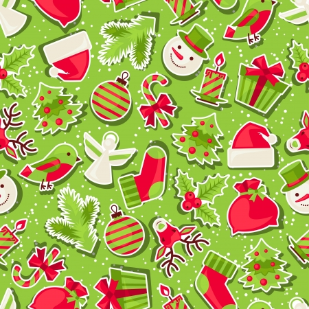 Merry Christmas seamless pattern. Vector Illustration