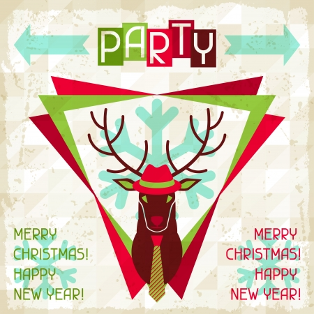 Merry Christmas background with deer in hipster style. Vector
