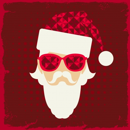 Merry Christmas background with Santa in hipster style. Vector