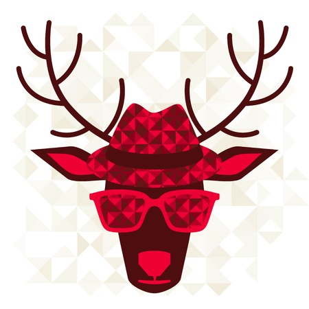 Print with deer in hipster style. Vector