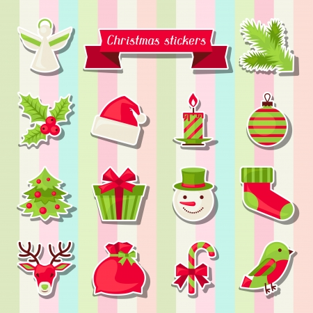 Set of Merry Christmas stickers. Vector