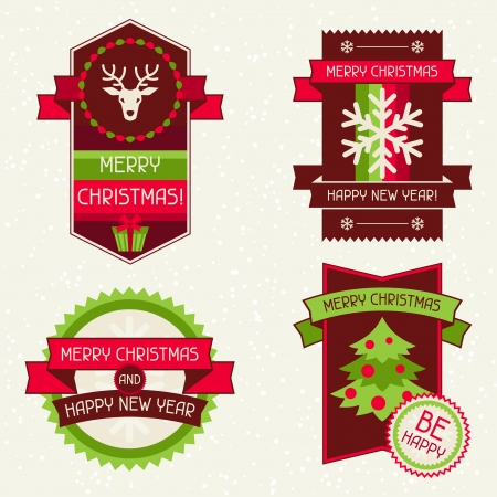 Merry Christmas banners, ribbons and badges. Vector
