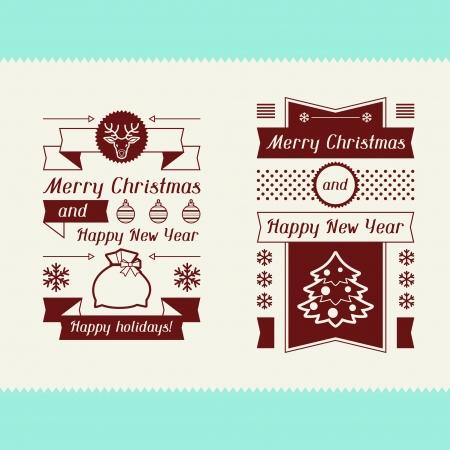 Merry Christmas invitation typographic design elements. Vector