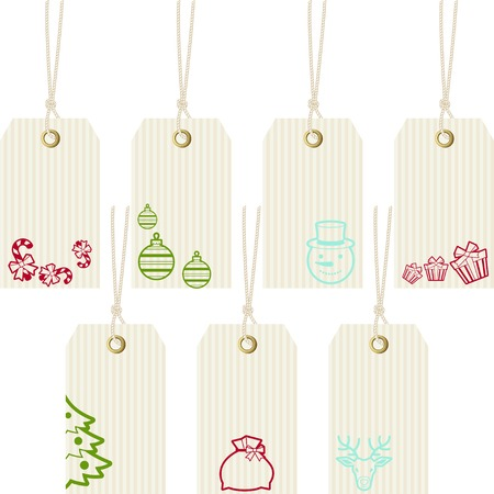 Collection of Merry Christmas paper price tags. Vector