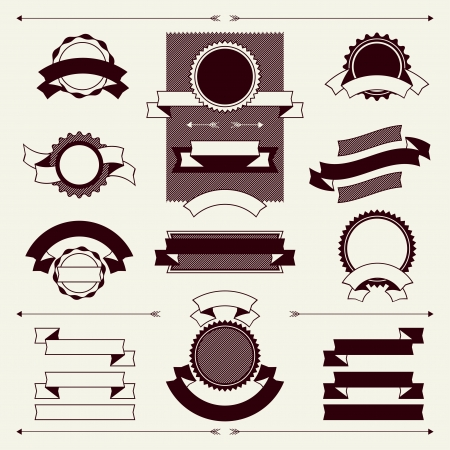 vintage scroll: Collection of labels and ribbons in retro vintage style.