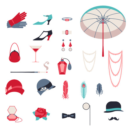 derby hat: Retro personal accessories, icons and objects of 1920s style. Illustration