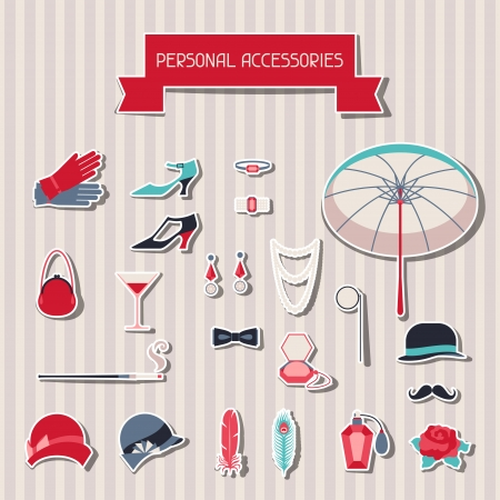 derby hat: Retro personal accessories stickers of 1920s style. Illustration