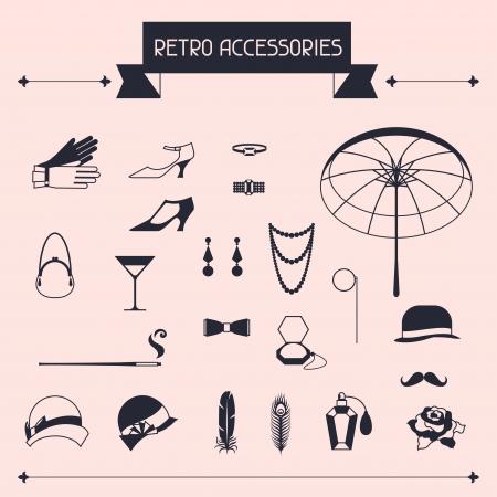 flapper: Accesorios personales Retro, iconos y objetos de la década de 1920 de estilo.