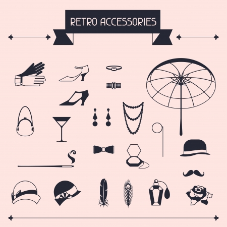 personal accessories: Retro personal accessories, icons and objects of 1920s style. Illustration
