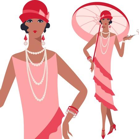 flapper: Retro hermosa joven de la década de 1920 de estilo.