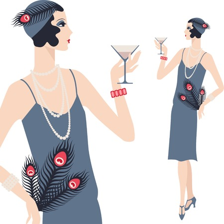 Retro young beautiful girl of 1920s style. Vector
