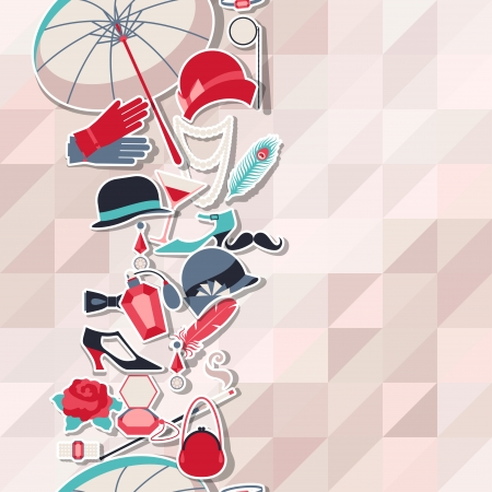 shoe print: Retro of 1920s style seamless pattern. Illustration