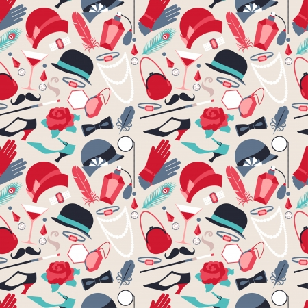 derby hat: Retro of 1920s style seamless pattern. Illustration