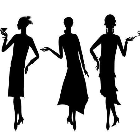 women smoking: Silhouettes of beautiful girl 1920s style. Illustration