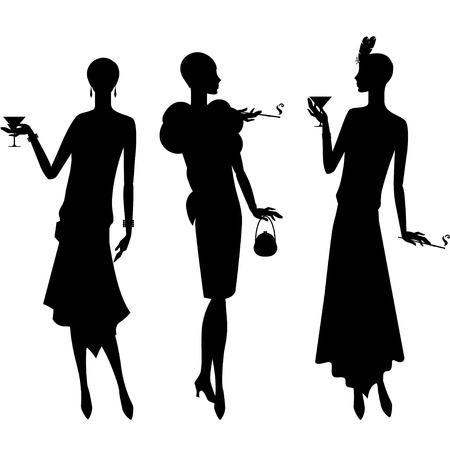 flapper: Silhouettes of beautiful girl 1920s style. Illustration