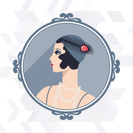 hair feathers: Retro background with beautiful girl of 1920s style. Illustration