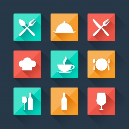 Collection flat icons food and drink for web design. Vector