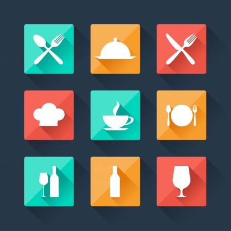piatto cibo: Collezione piatto icone cibo e bevande per il web design.