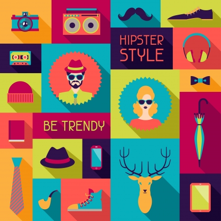 hipster mustache: Hipster background in flat design style.