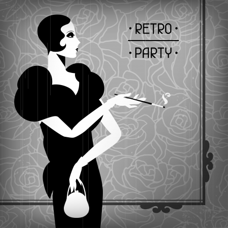 movie poster: Retro party background with beautiful girl of 1920s style. Illustration