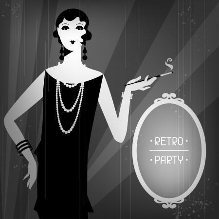 flapper: Fondo retro del partido con la muchacha hermosa del estilo 1920.