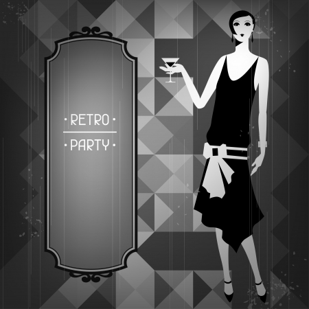 Retro party background with beautiful girl of 1920s style. Illustration