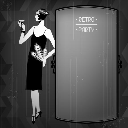 1920 년대 스타일의 아름다운 소녀와 레트로 파티 배경. 일러스트