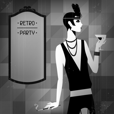 flapper: Retro party background with beautiful girl of 1920s style. Illustration