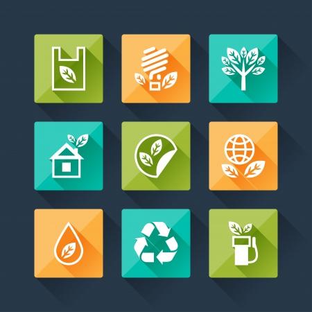 Satz von Eco-Icons in flache Design-Stil.