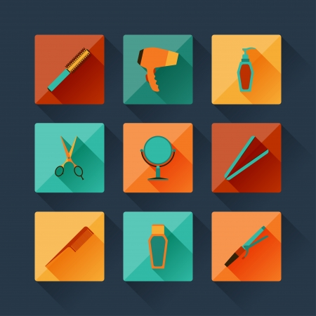 flat brush: Set of hairdressing icons in flat design style.