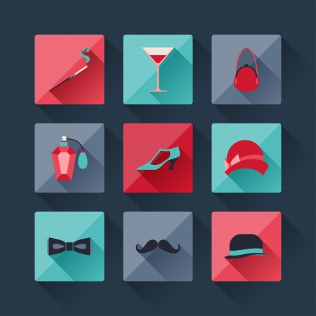 Set of retro fashion icons in flat design style. Vector