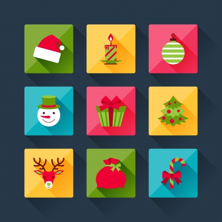 Set of christmas icons in flat design style. Vector