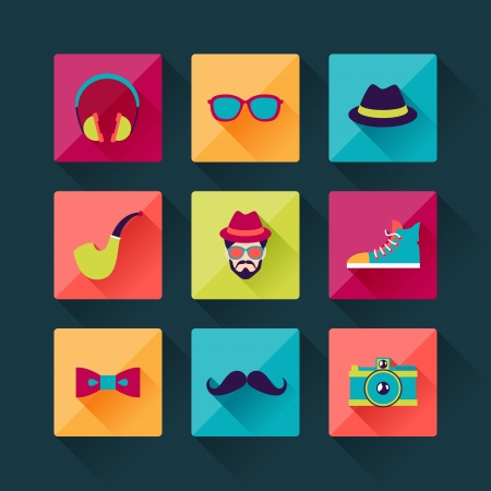 Set of hipster icons in flat design style. Vector