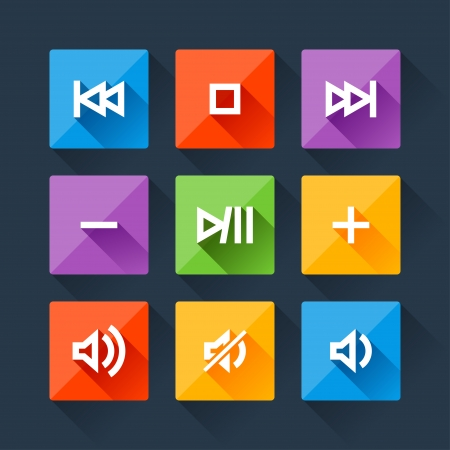 mute: Set of media player buttons in flat design style. Illustration