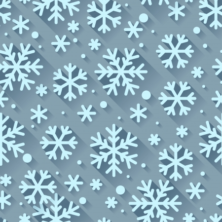 Abstract pattern with snowflakes in flat design style. Vector