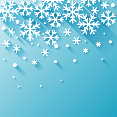 Abstract background with snowflakes in flat design style. Vector