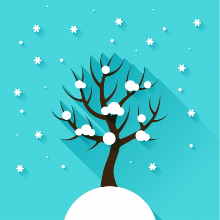 Background with winter tree in flat design style. Vector