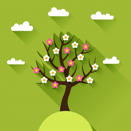 postcard design: Background with spring tree in flat design style.