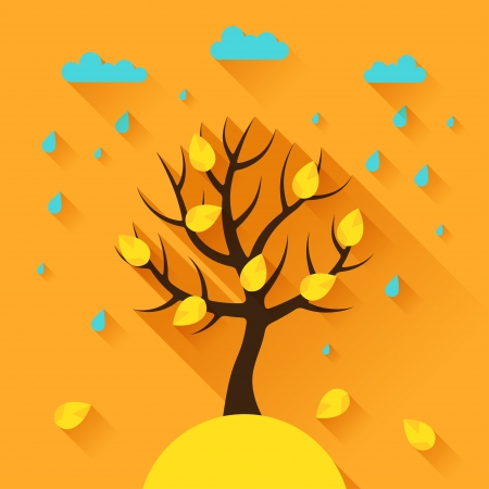 Background with autumn tree in flat design style. Vector