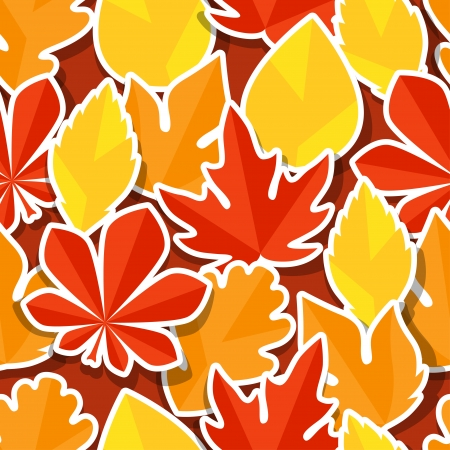 Seamless pattern with stickers autumn leaves. Stock Vector - 22483290
