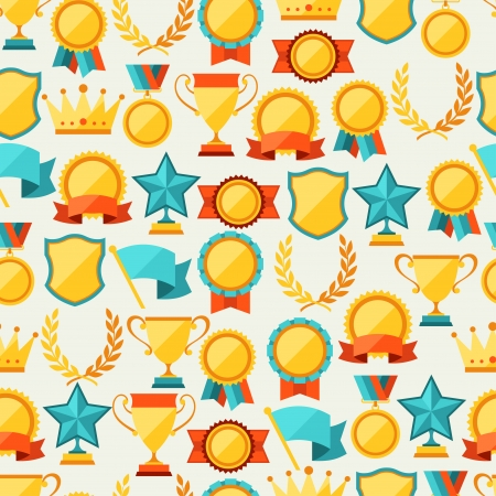 Seamless pattern with trophy and awards. Vector