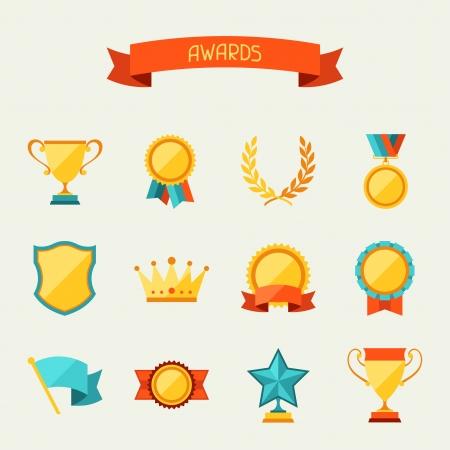 premios: Trofeos y premios iconos conjunto.