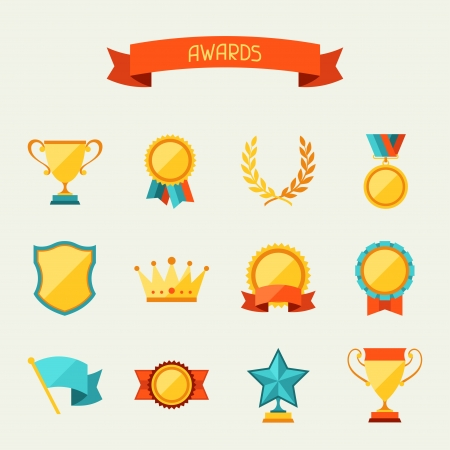 Trophy en awards pictogrammen set. Stock Illustratie