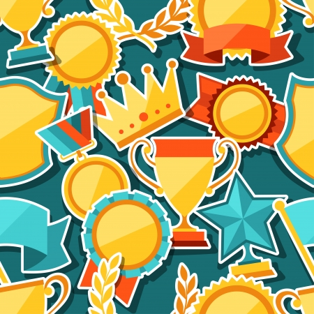 Seamless pattern with trophy and awards stickers. Vector