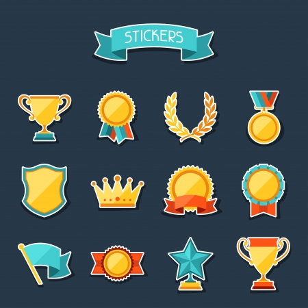 medals: Trophy and awards stickers set.