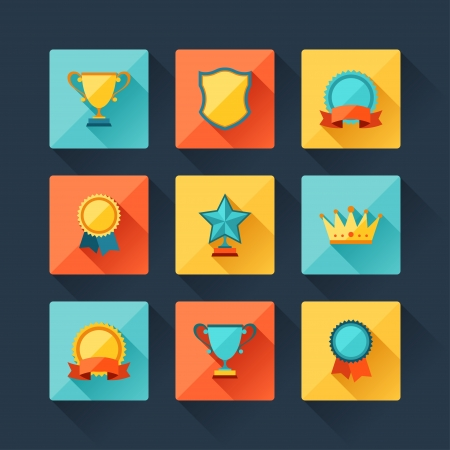 trophy cup: Trophy and awards icons set in flat design style.