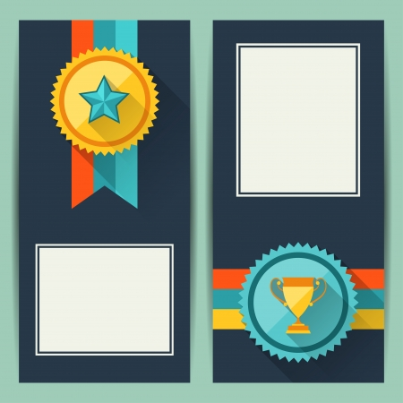 Certificate templates with trophies and awards. Vector