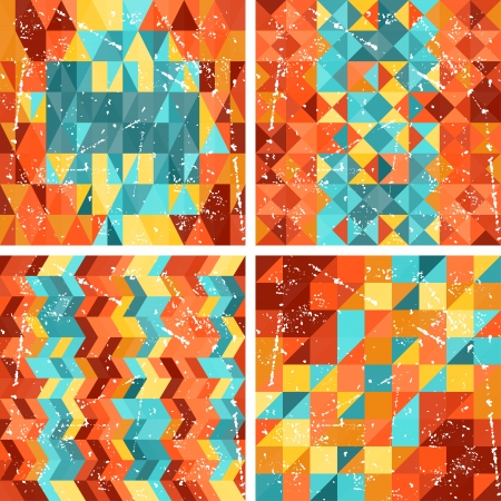 Seamless colorfull geometric patterns in retro style. Vector