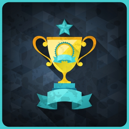 Grunge background with trophies and awards. Vector
